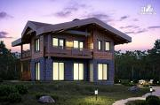 Фото: двухэтажный дом из газобетона с балконами  и террасой