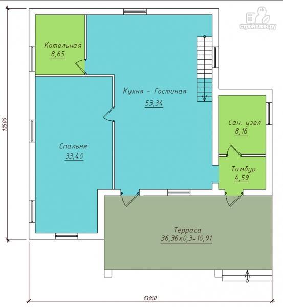 Фото 2: проект дом с террасой и мансардным этажом