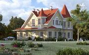 Фото: дом из керамзитобетона с террасой, балконом, вторым светом и сауной
