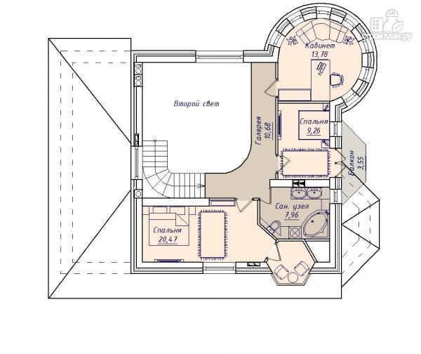 Фото 3: проект дом из керамзитобетона с террасой, балконом, вторым светом и сауной