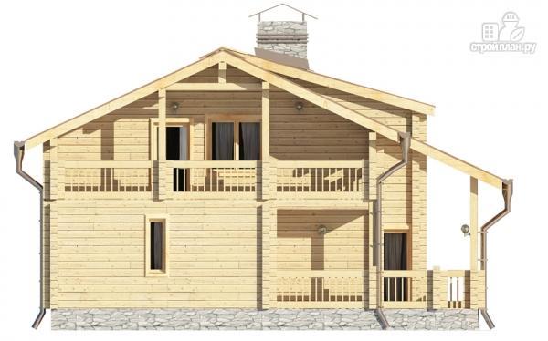 Фото 6: проект деревянный дом с гостиной в два света и камином