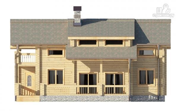 Фото 4: проект деревянный дом с гостиной в два света и камином