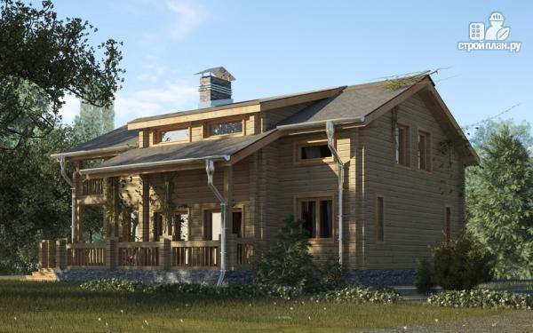 Фото 5: проект деревянный дом с гостиной в два света и камином