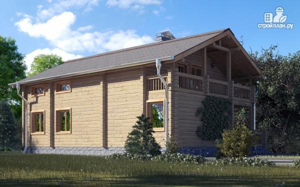 Фото 10: проект деревянный дом с гостиной в два света и камином