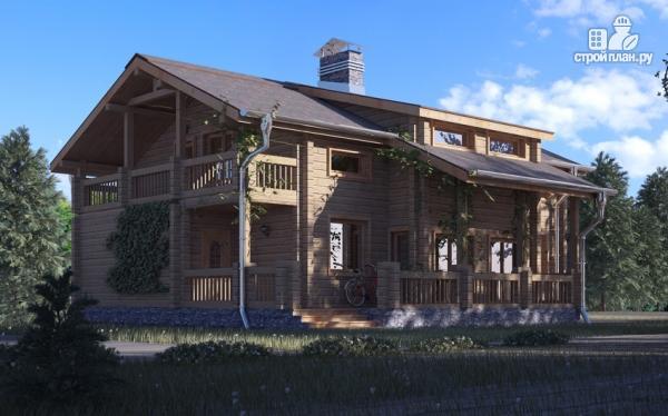 Фото: проект деревянный дом с гостиной в два света и камином