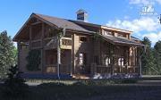 Фото: деревянный дом с гостиной в два света и камином