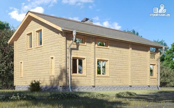 Фото 9: проект деревянный дом с гостиной в два света и камином