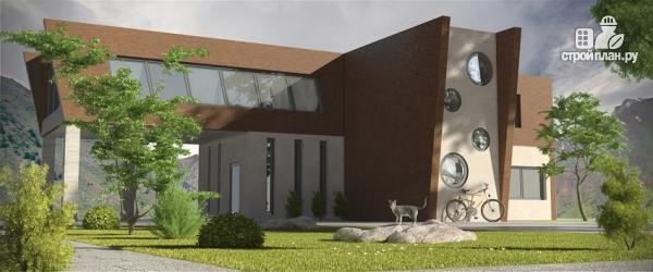 Фото: проект дом в современном стиле с террасой и лоджией