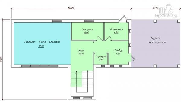 Фото 2: проект дом в современном стиле с террасой и лоджией