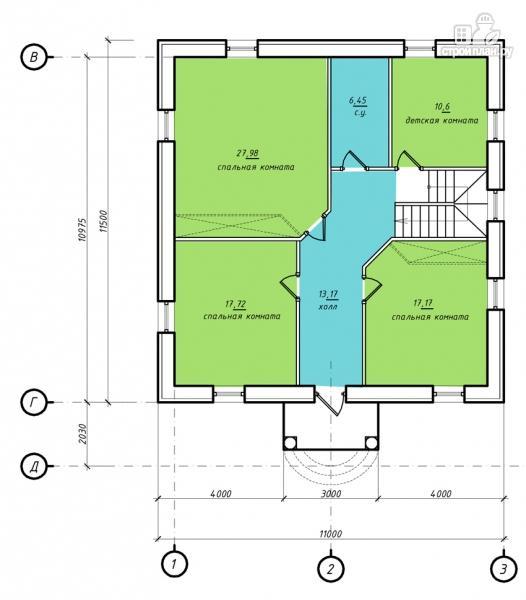 Фото 3: проект двухэтажный дом из газобетона с террасой и камином в кабинете
