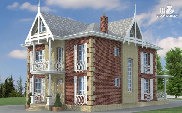 Фото: проект двухэтажный дом из газобетона с террасой и камином в кабинете