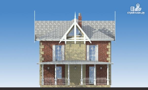 Фото 7: проект двухэтажный дом из газобетона с террасой и камином в кабинете