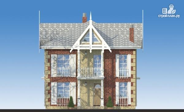 Фото 4: проект двухэтажный дом из газобетона с террасой и камином в кабинете