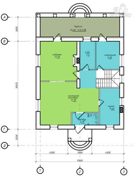 Фото 2: проект двухэтажный дом из газобетона с террасой и камином в кабинете