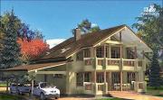 Фото: дом из дерева с мансардой и навесом для двух машин