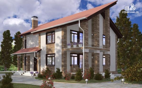 Фото: проект дом с балконом, террасой и сауной