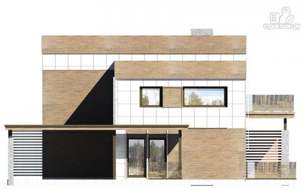 Фото 7: проект дом с балконом, террасой и навесом для машины