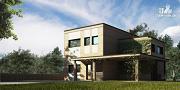 Фото: дом с балконом, террасой и навесом для машины