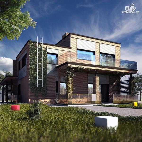 Фото 9: проект дом с балконом, террасой и навесом для машины
