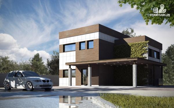 Фото: проект загородный дом с плоской крышей и парковочным навесом