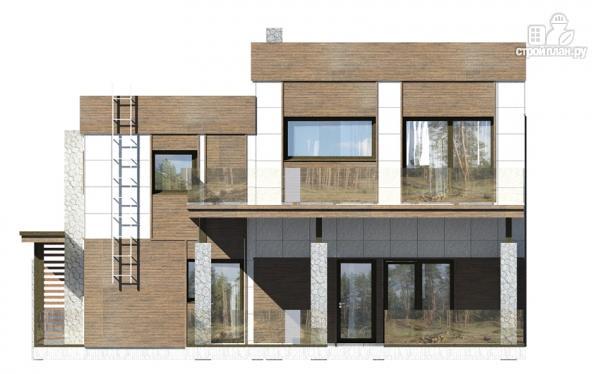 Фото 4: проект загородный дом с плоской крышей и парковочным навесом
