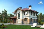 Проект двухэтажный дом из газобетона с террасой