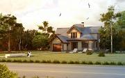 Проект дом с террасой, сауной и бассейном