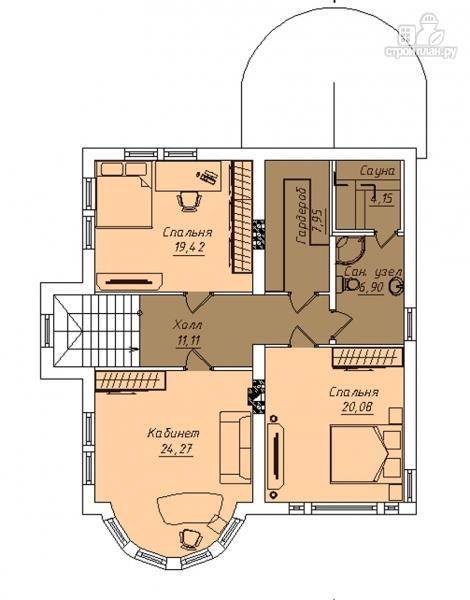 Фото 3: проект двухэтажный дом с террасой и сауной