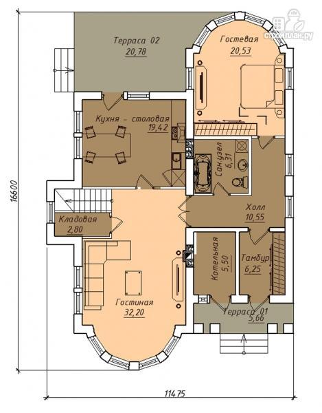 Фото 2: проект двухэтажный дом с террасой и сауной