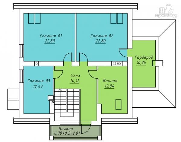 Фото 3: проект дом с балконом, террасой и мансардным этажом