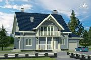 Проект дом с балконом, террасой и мансардным этажом