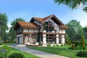 Проект светлый дом с сауной и мансардным этажом