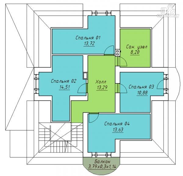 Фото 3: проект дом с террасой, верандой и балконом
