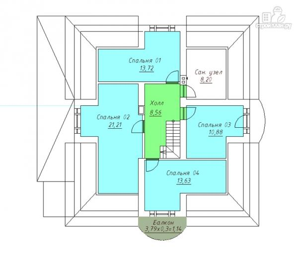 Фото 3: проект дом из газобетона с балконом, террасой и верандой