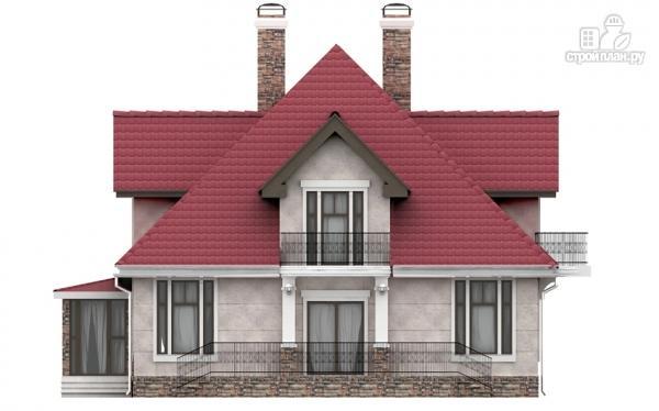 Фото 6: проект дом из газобетона с балконом, террасой и верандой