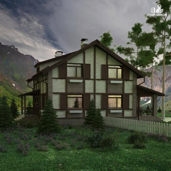Фото 7: проект дом с террасой и сауной