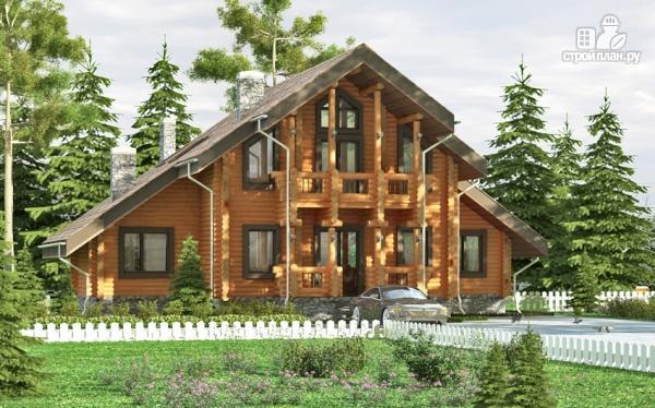 Фото: проект деревянный дом с террасой, балконом и сауной