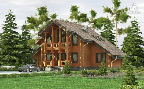 Фото 8: проект деревянный дом с террасой, балконом и сауной
