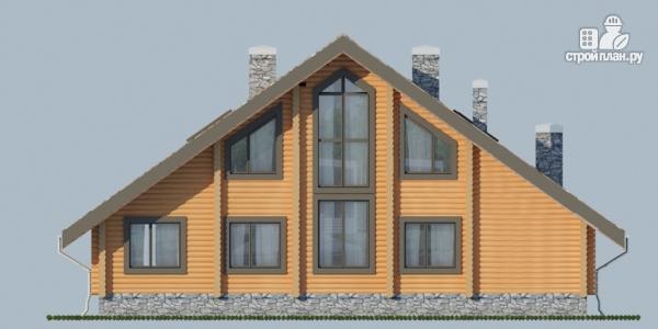 Фото 6: проект деревянный дом с террасой, балконом и сауной