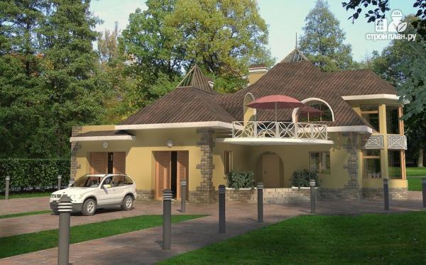 Фото: проект дом с балконом, террасой и гаражом