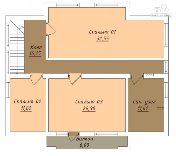 Фото 3: проект дом с мансардным этажом, террасой и балконом