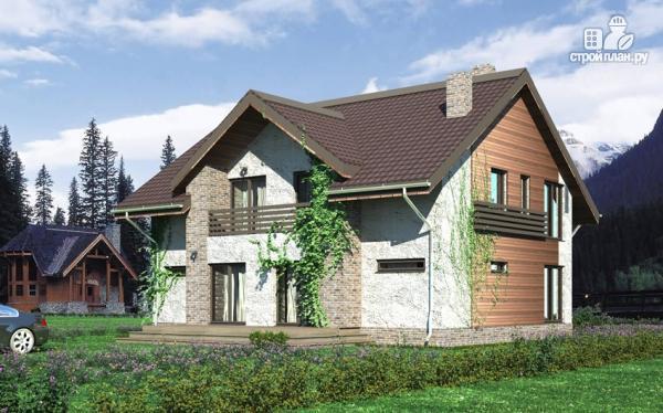 Фото: проект дом с мансардным этажом, террасой и балконом