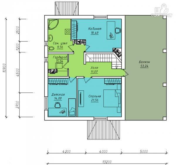 Фото 3: проект двухэтажный дом с застеклённой лоджией
