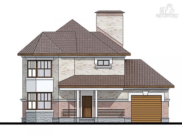 Фото 5: проект двухэтажный дом из газобетона с террасой и эркерами