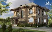 Фото: двухэтажный дом с балконом, террасой и котельной