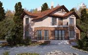Проект дом с балконом, террасой и гаражом