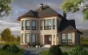 Фото: двухэтажный дом с террасой и эркерами