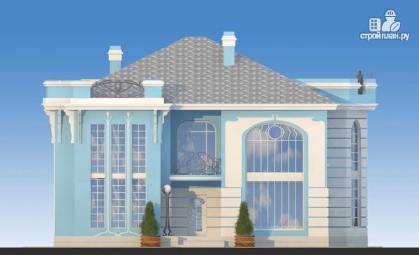 Фото 4: проект загородная резиденция с балконом, двухсветной гостиной и парной