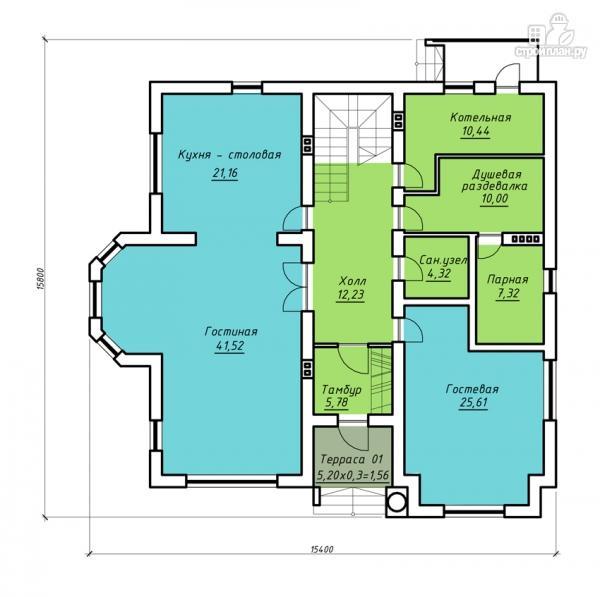 Фото 2: проект загородная резиденция с балконом, двухсветной гостиной и парной