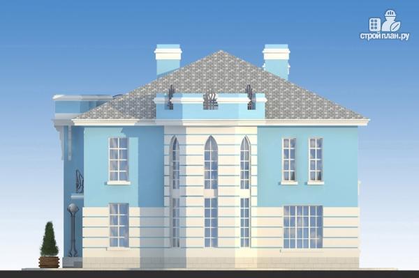Фото 6: проект загородная резиденция с балконом, двухсветной гостиной и парной